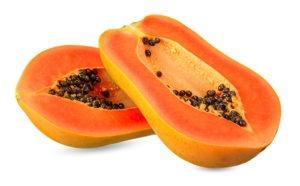 Papayas sind zwar nicht gerade lokale Früchte, aber hin und wieder oder im Urlaub kann man sich auch diesen Luxus gönnen. Eine reife Frucht, klein geschnitten über Joghurt oder einfach nur so mit etwas Zimt schmeckt nicht nur hervorragend, sondern tut unserem ganzen Körper gut.  Sie hat nur 2,4 g Zucker auf 100g